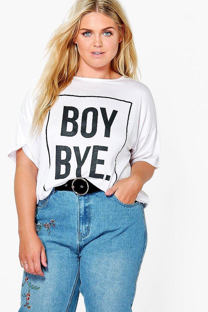 Boy Bye Slogan Printed T-Shirt