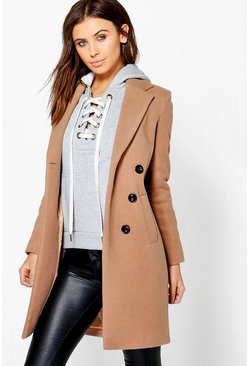 Dam Petite  Double Breasted Camel Duster Coat