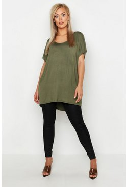 Womens Khaki Plus Oversized T-Shirt