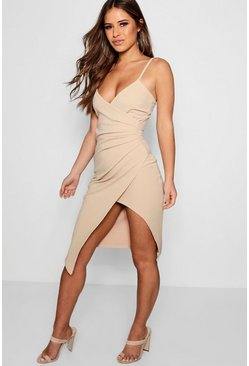 Womens Stone Petite Strappy Wrap Asymmetric Dress