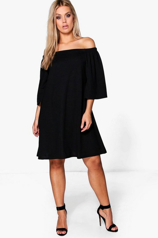 Plus Off The Shoulder Swing Dress