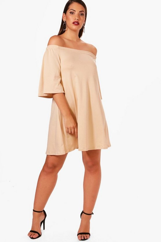 Womens Sand Plus Off The Shoulder Swing Dress