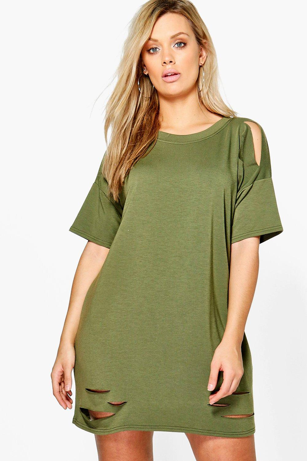 43686826d416 Plus Faith Distressed T-shirt Dress. Hover to zoom