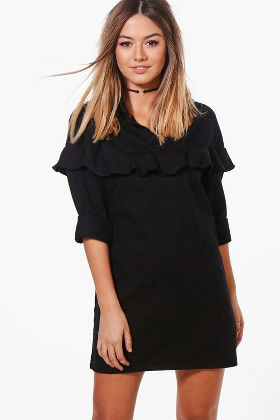 Womens Black Petite Imogen Ruffle Detail Denim Shirt Dress