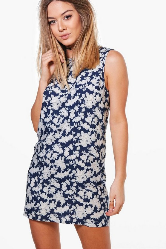 Petite Jane Printed Sleeveless Shift Dress