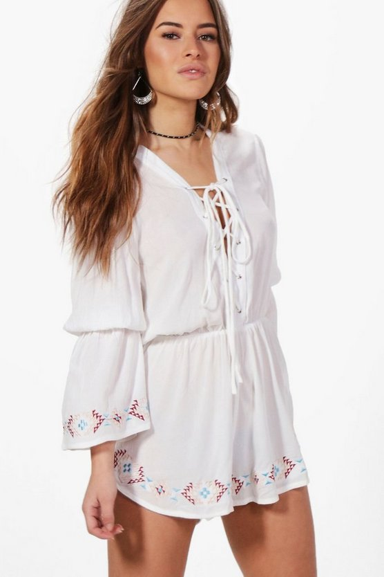 Petite Petra Lace Up Detail Embroidered Playsuit