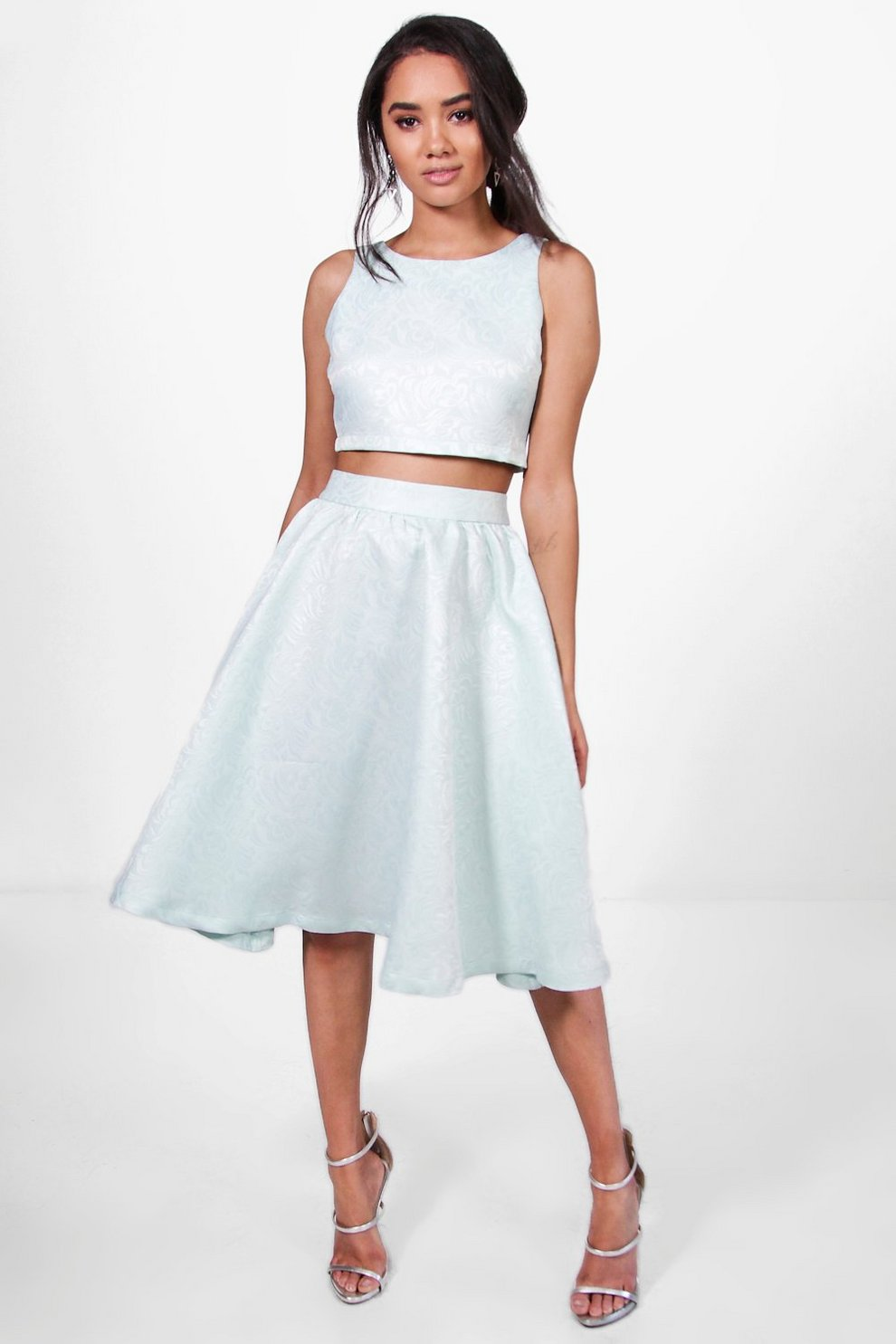 caa3712d94 Petite Premium Lola Jacquard Skirt Co-Ord   Boohoo