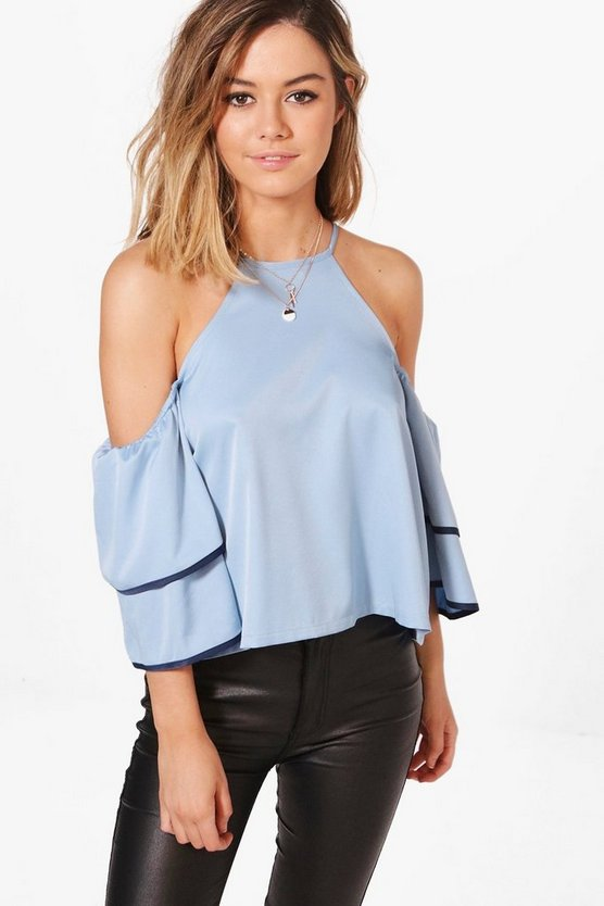 Petite Laurie Ruffle Sleeve Cami Top