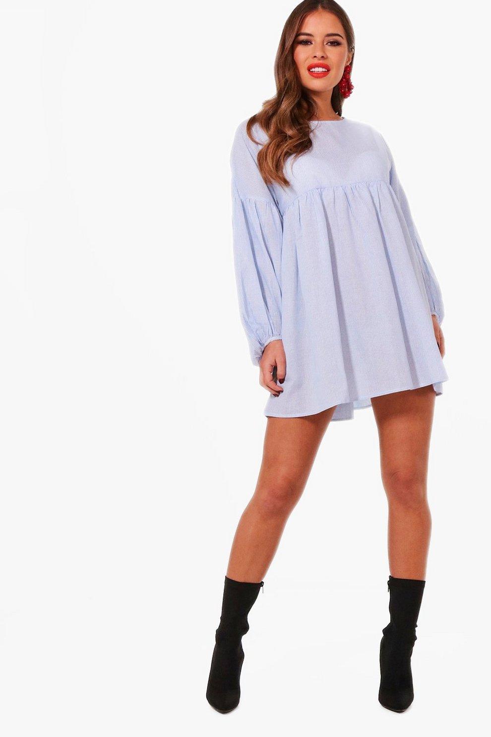 b2f01833c495 Petite Rebecca Lightweight Stripe Smock Dress | Boohoo