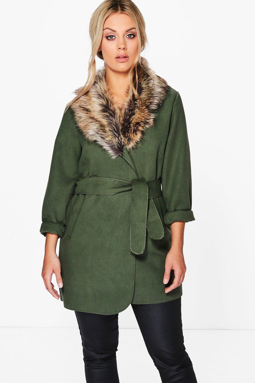 756d7d10e52eb Plus Tara Faux Fur Collar Wrap Coat. Hover to zoom