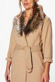 3bc6856f29b ... Plus Tara Faux Fur Collar Wrap Coat alternative image