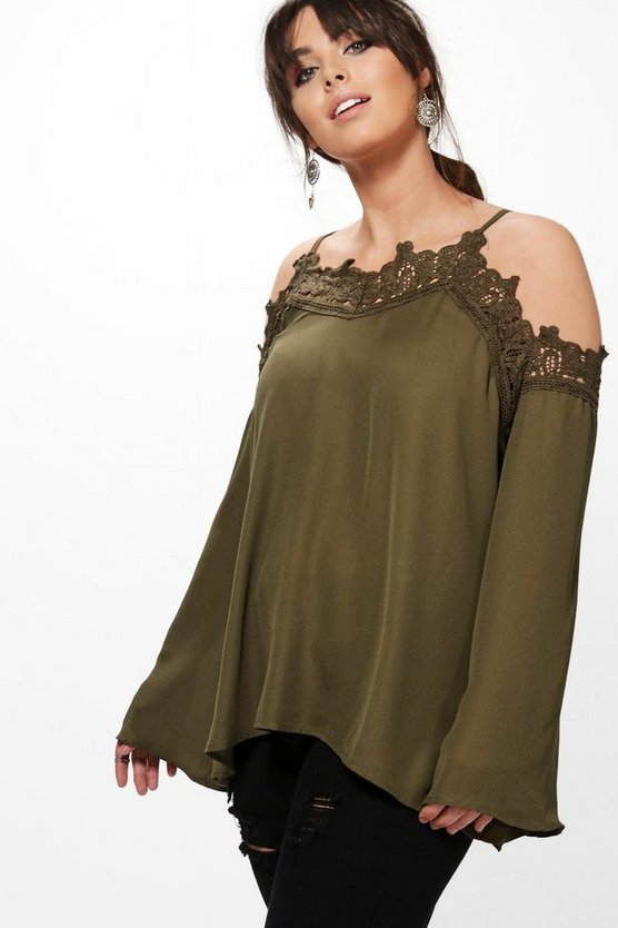 Plus Kaitlyn Trim Detail Open Shoulder Blouse