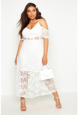 Womens Cream Plus  Crochet Lace Premium Skater Dress