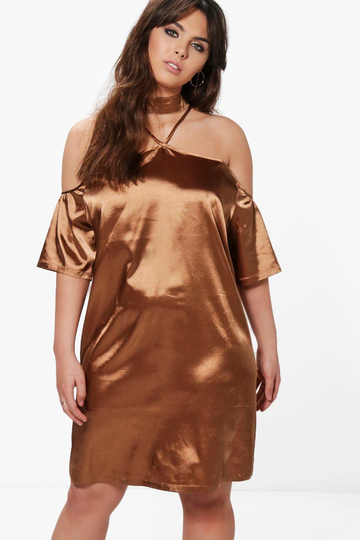 Louise Satin Open Shoulder Choker Shift Dress  bronze
