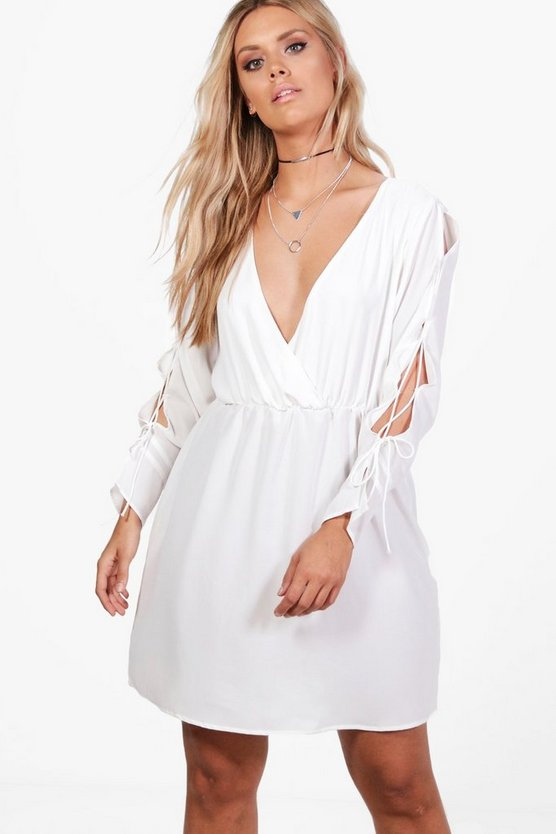 Womens Cream Plus Jules Lace Up Sleeve Woven Wrap Dress