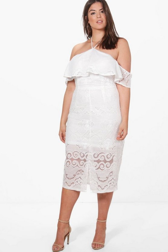 Womens White Plus Dahlia Crochet Lace Ruffle Detail Midi Dress