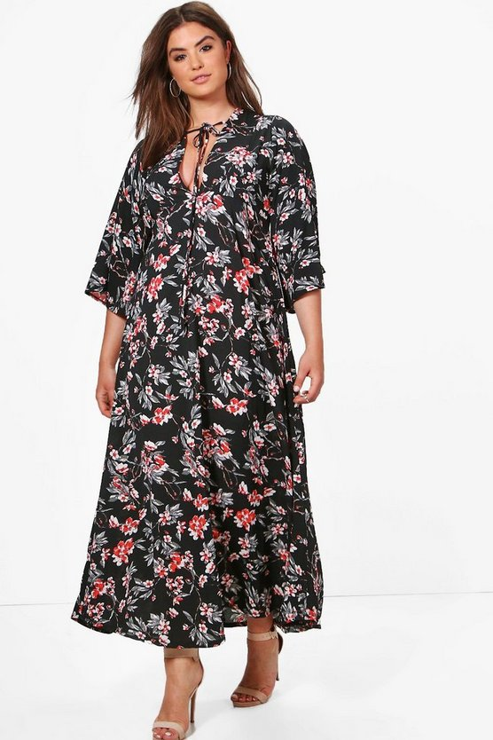 Plus April Floral Print Flute Sleeve Maxi Dress