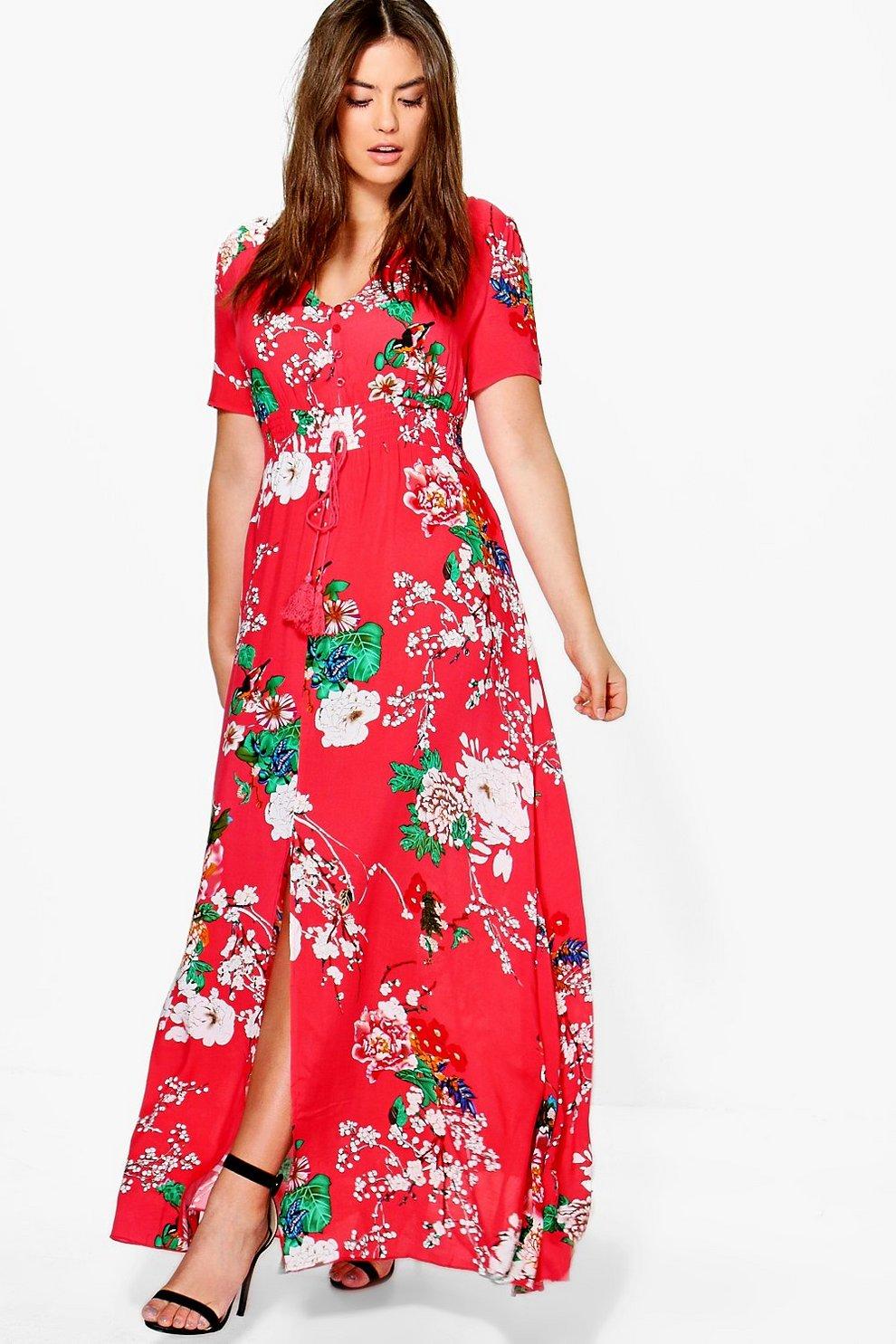 1651a383d6 Plus Floral Print Maxi Dress   Boohoo