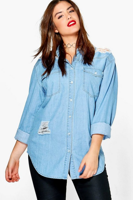 Plus Janette Ultra Distressed Oversized Shirt
