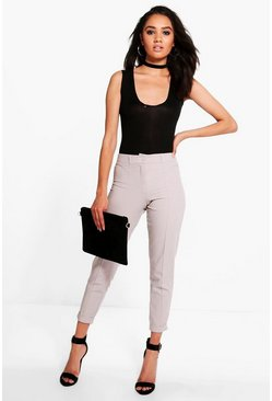 Womens Grey Petite Turn Up Tailored Woven Trousers