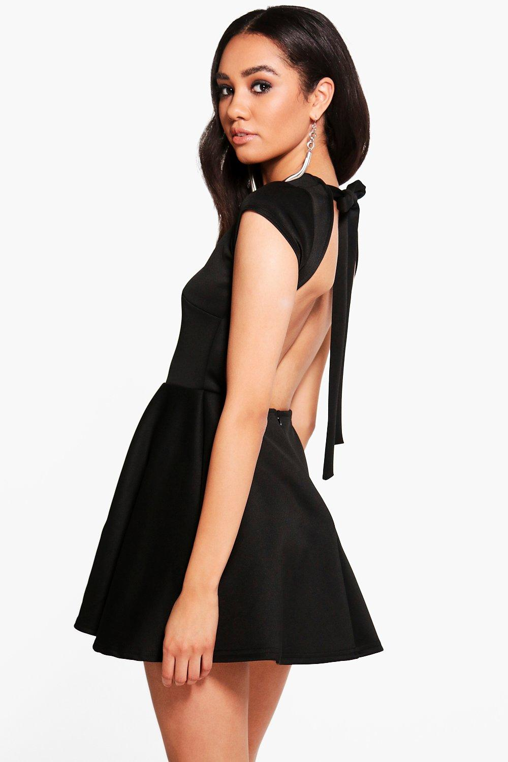 dde6054389ad Petite Hailey Scuba Backless Skater Dress. Hover to zoom