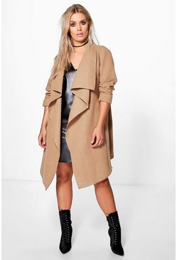 Womens Camel Plus  Wool Look Wrap Front Coat