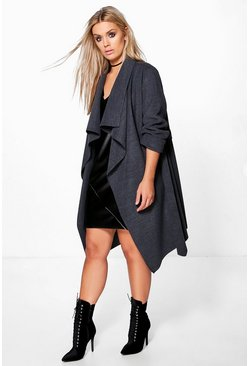 Womens Charcoal Plus  Wool Look Wrap Front Coat