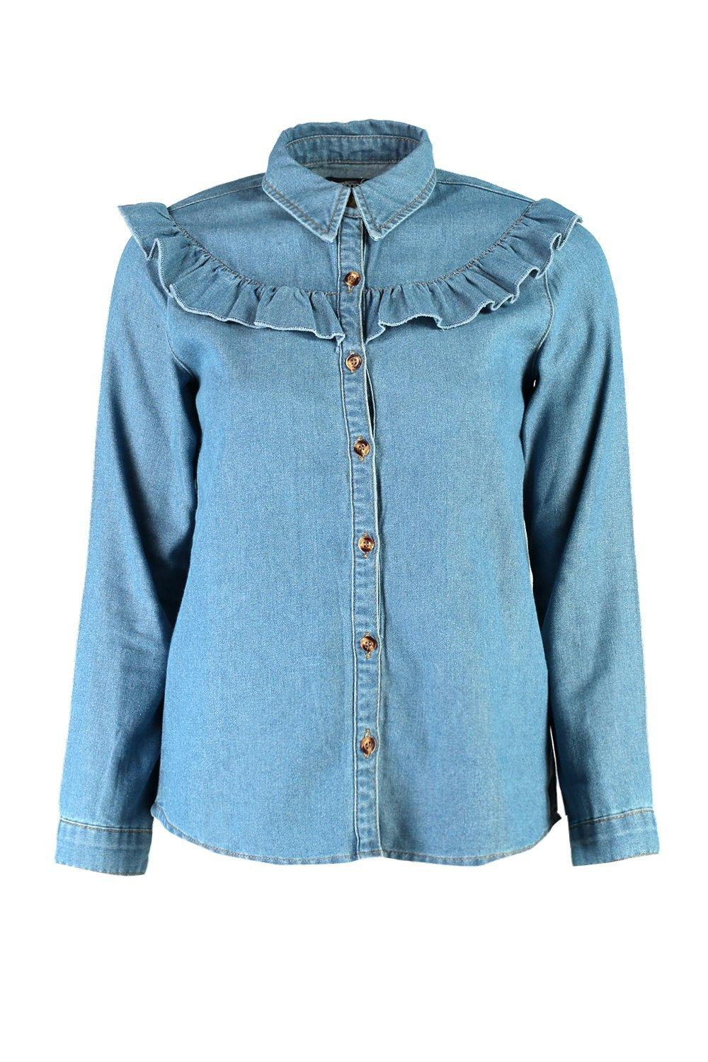 Boohoo womens petite ariana ruffle detail denim shirt in for Indigo denim shirt womens
