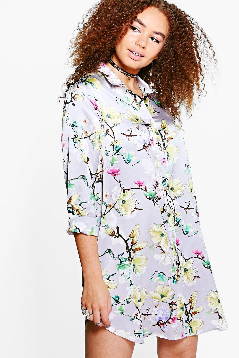 f335242f8edd Plus Sadie Floral Satin Shirt Dress | Boohoo