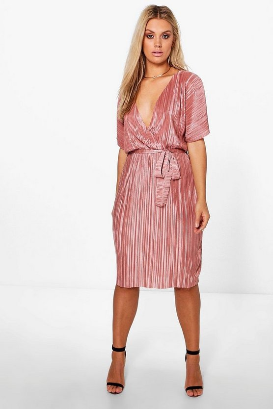Plus Nicole Pleated Wrap Front Dress
