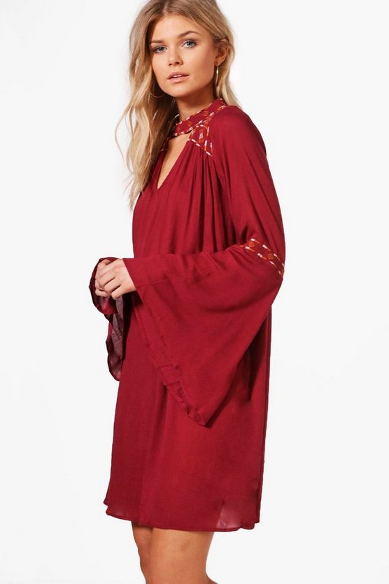 Petite Boutique Ava Embroidered Wide Sleeve Swing Dress