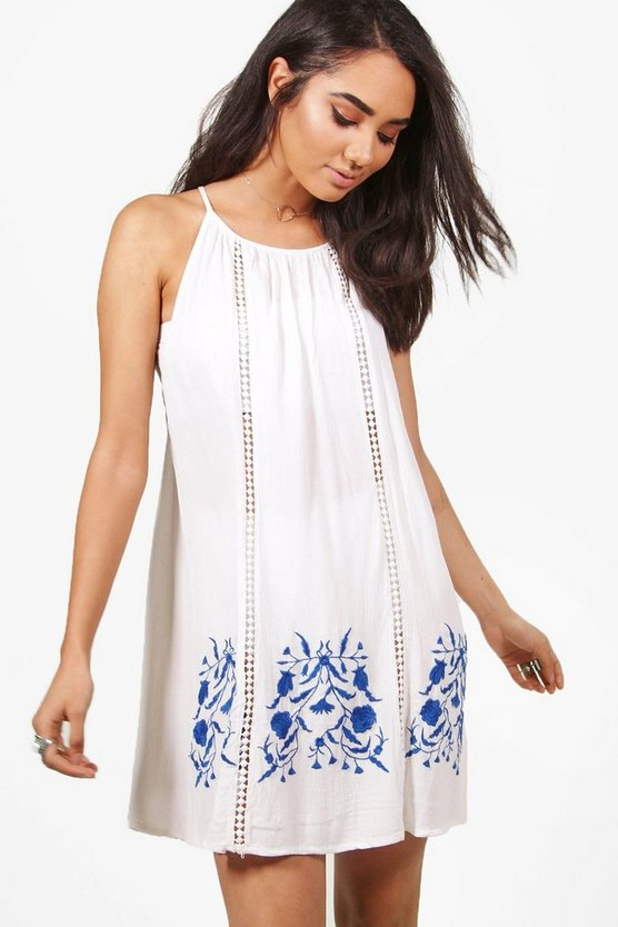 Petite Tara Embroidered Shift Dress