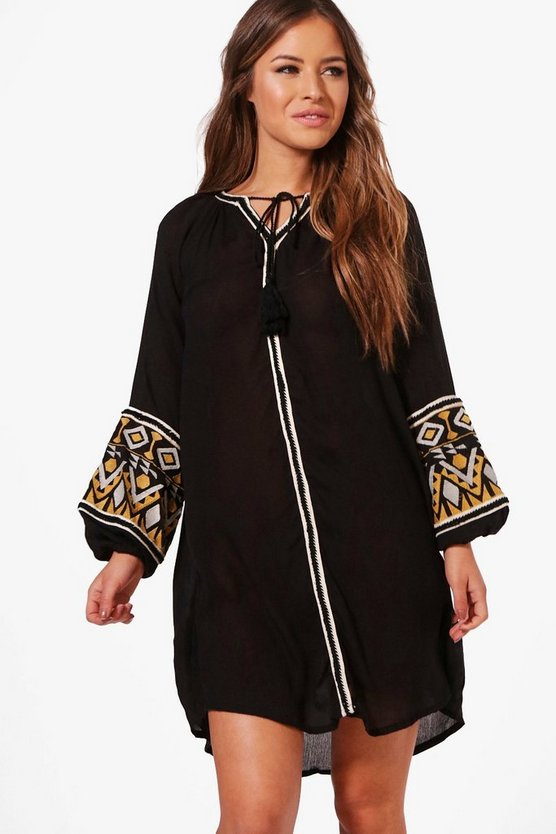 Petite Jess Boutique Embroidered Smock Dress