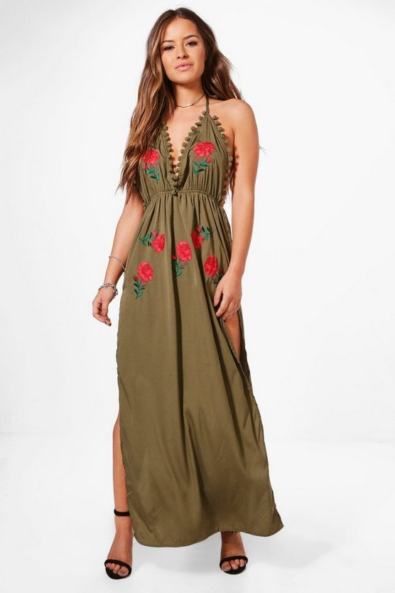 Petite Yasmine Embroidered Pom Pom Maxi Dress