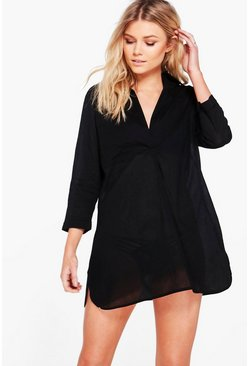 Womens Black Petite  Oversized Cotton Beach Shirt