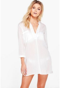 Womens White Petite  Oversized Cotton Beach Shirt