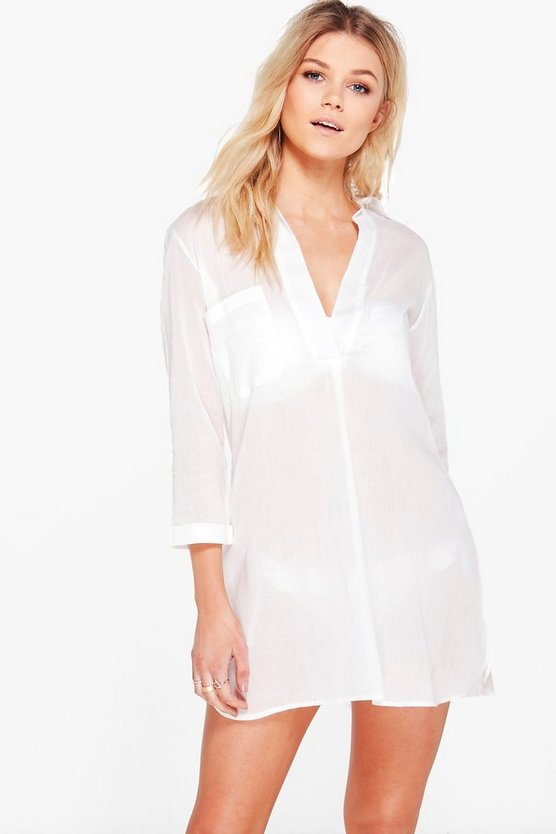 Petite  Oversized Cotton Beach Shirt