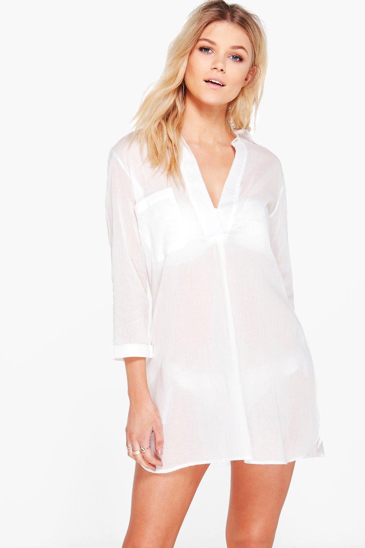 bef22e6b0a87b Womens White Petite Oversized Cotton Beach Shirt. Hover to zoom