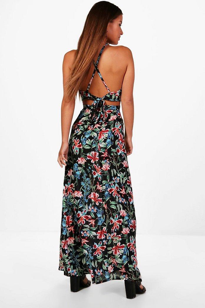 new images of sale online big sale Petite Imogen Halter Neck Top Maxi Skirt Co-ord | Boohoo