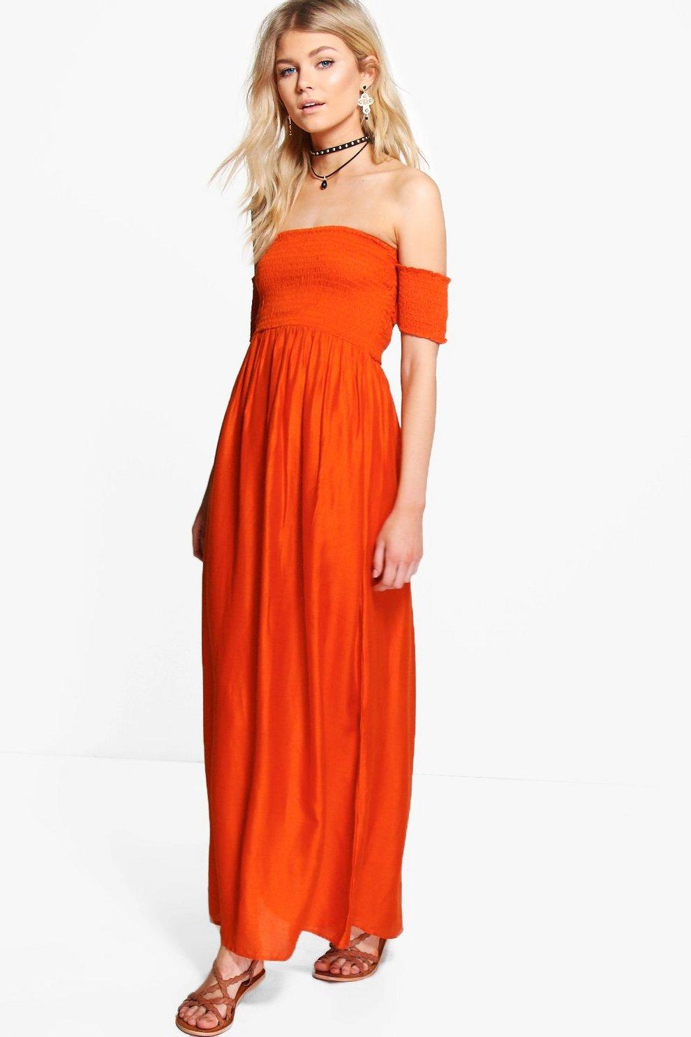 6d50b7281e61 Petite Bryony Off The Shoulder Shirred Dress | Boohoo