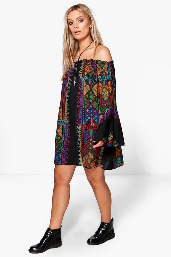 Plus Megan Printed Flute Sleeve Dress