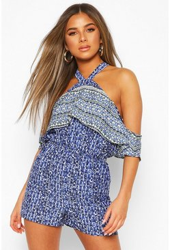 Petite Frill Cutaway Shoulder Playsuit, Blue