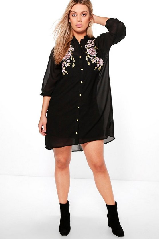 Plus Eva Embroidered Shirt Dress