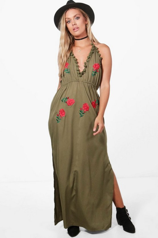 Plus Embroidered Pom Pom Maxi Dress