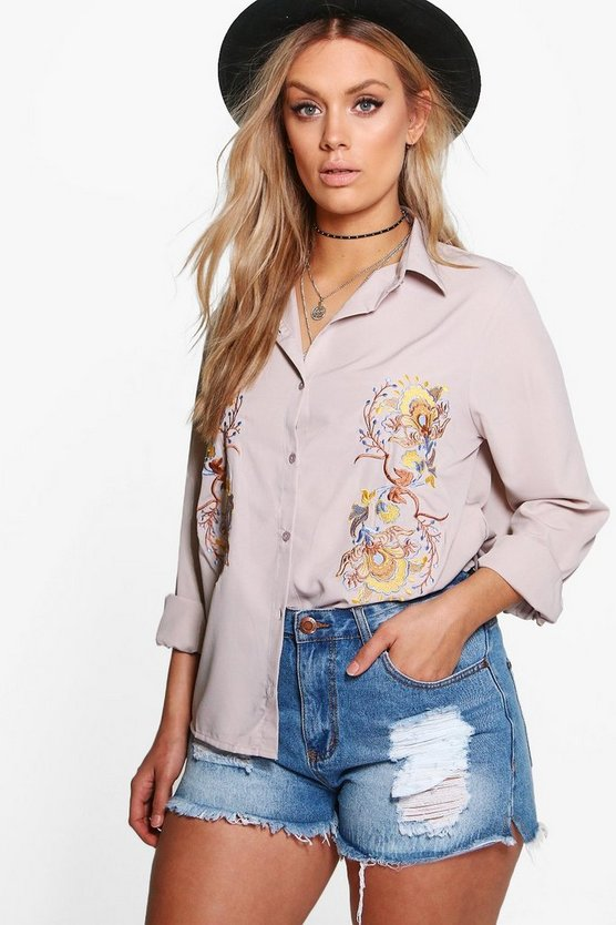Womens Grey Plus Louise Embroidered Shirt
