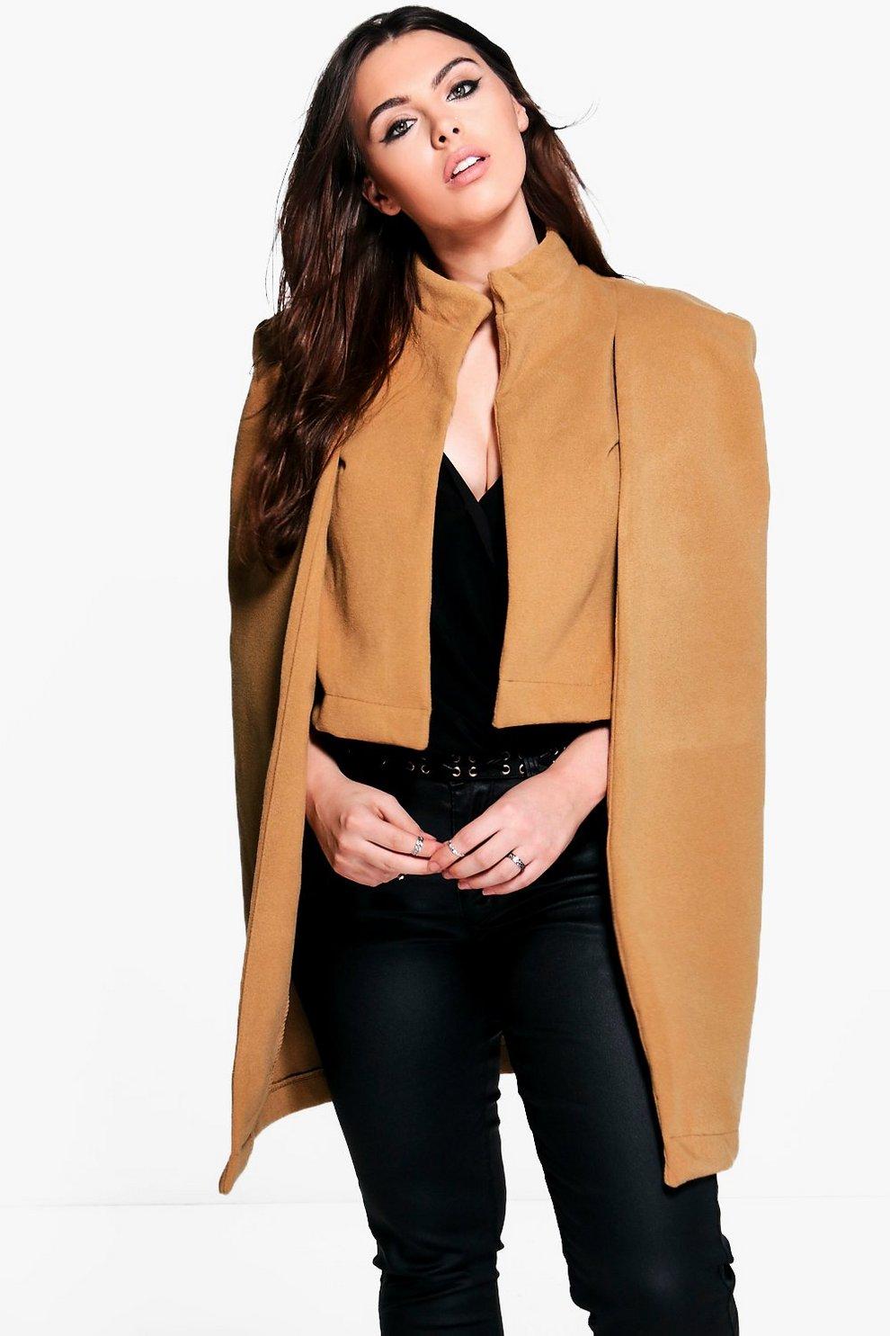 20a2be734222 Plus Natalie Wool Look Cape Coat | Boohoo