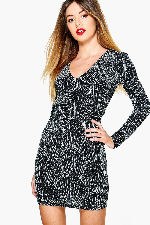 4690f85335 Womens Black Petite Maya Slinky Glitter Printed Bodycon Dress. Hover to zoom