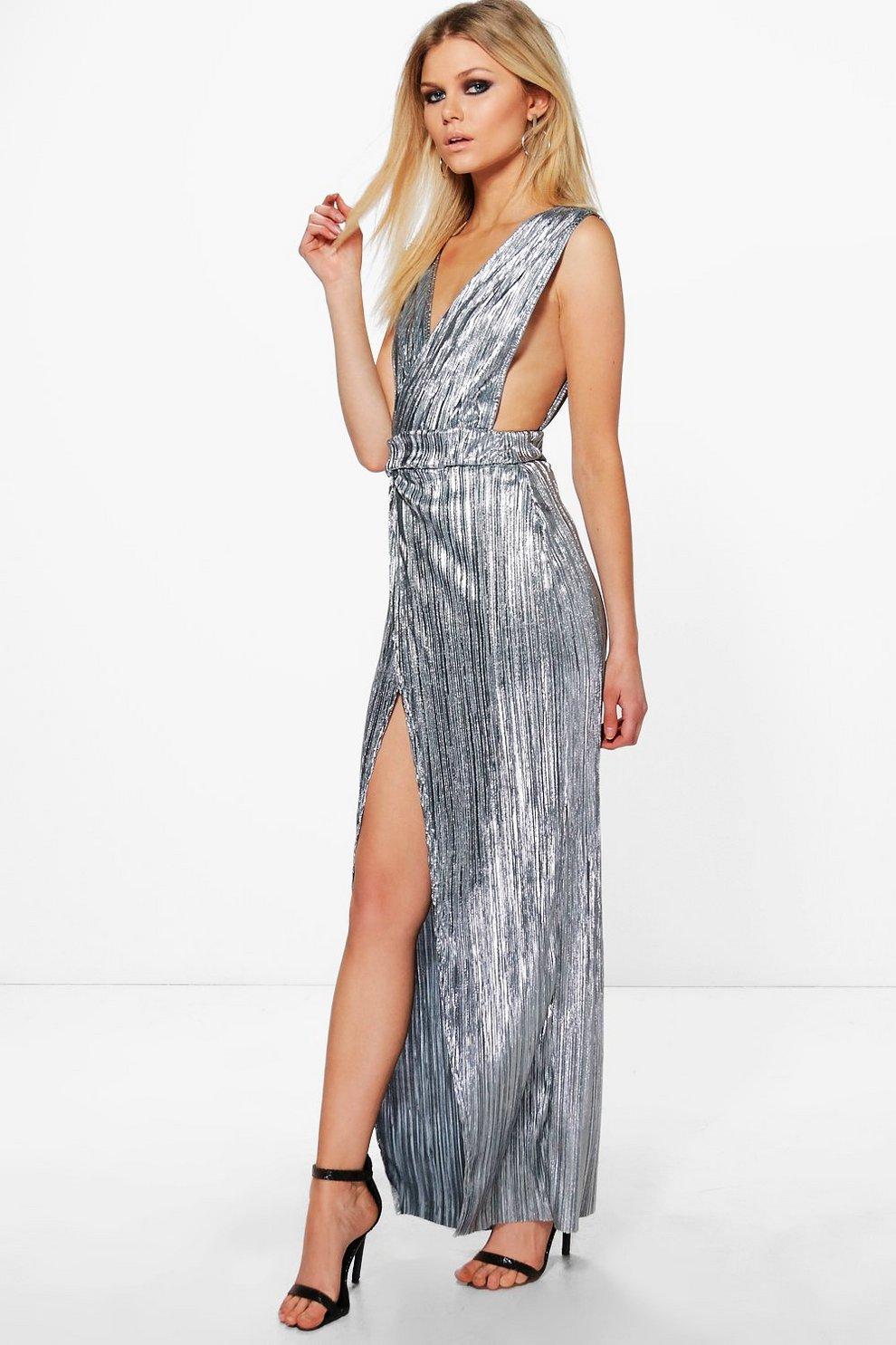 a9824f7db3 Womens Silver Petite Eva Metallic Pleat Wrap Maxi Dress