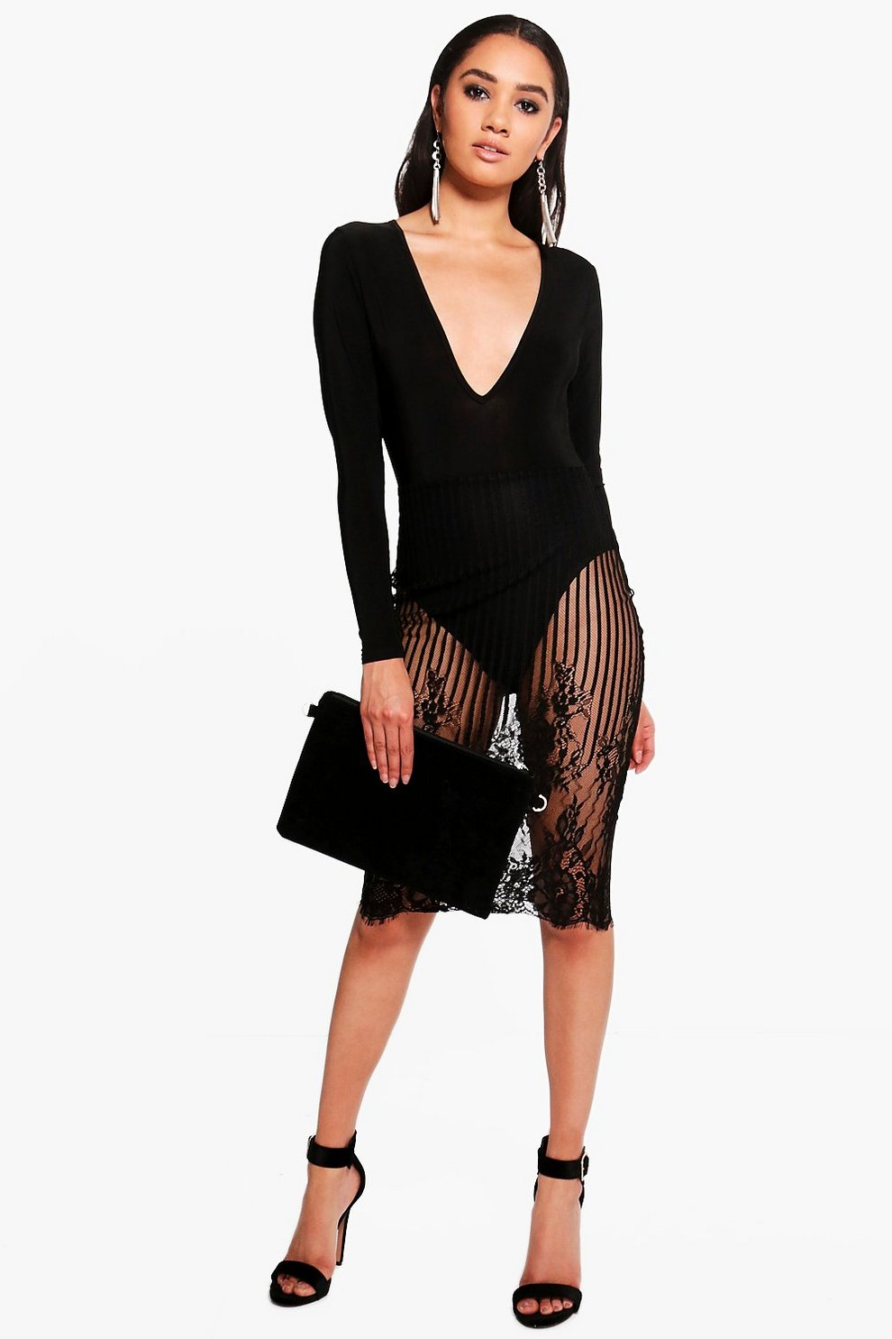 7a7803773acb Boohoo Long Sleeve Black Lace Midi Dress – Little Black Dress ...