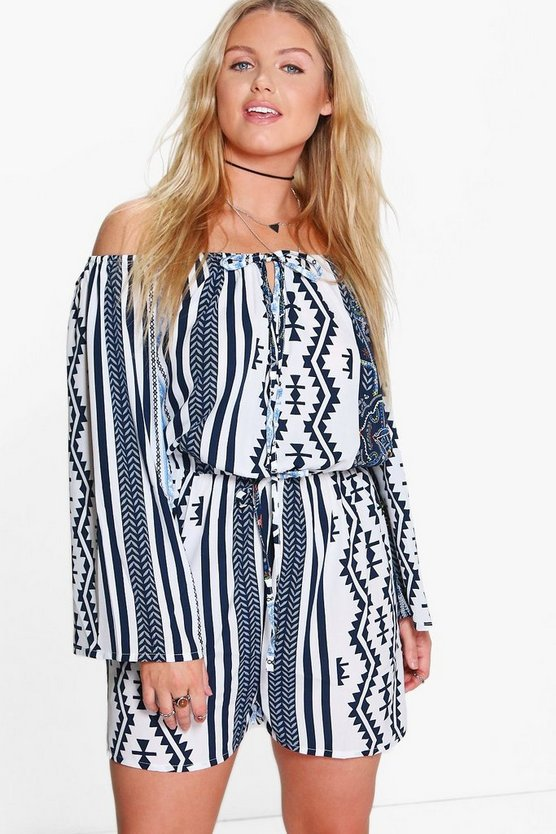 Multi Plus Louise Printed Off The Shoulder Playsuit